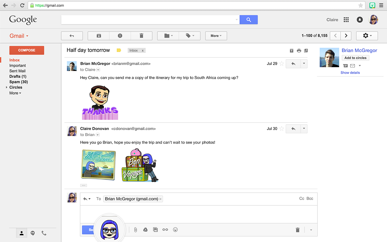 Extension Bitmoji Chrome