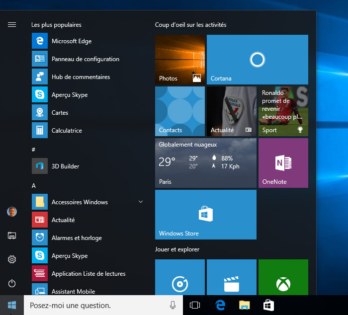 Menu démarré Windows 10